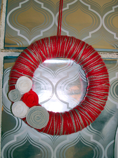 red & silver yarn wreath