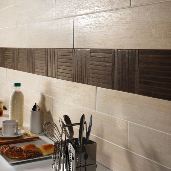 Wood-look tile, kitchen backsplash