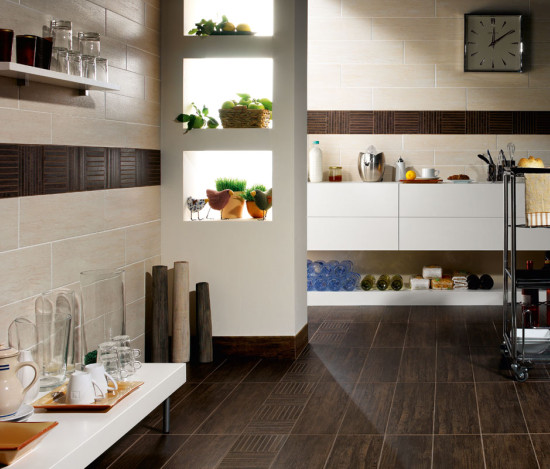 Wood-look tile kitchen