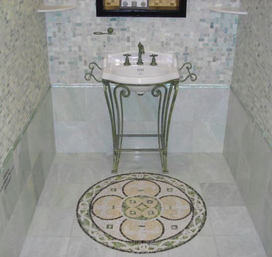bathroom tile medallion rug
