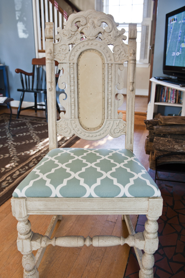 reupholstered chair seat