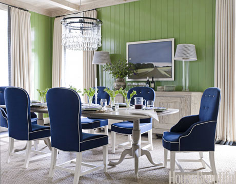 navy blue & green dining room
