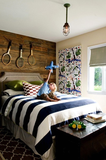 navy blue & green kid's bedroom