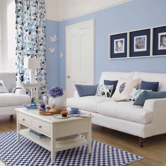 navy blue & light blue family room, living room