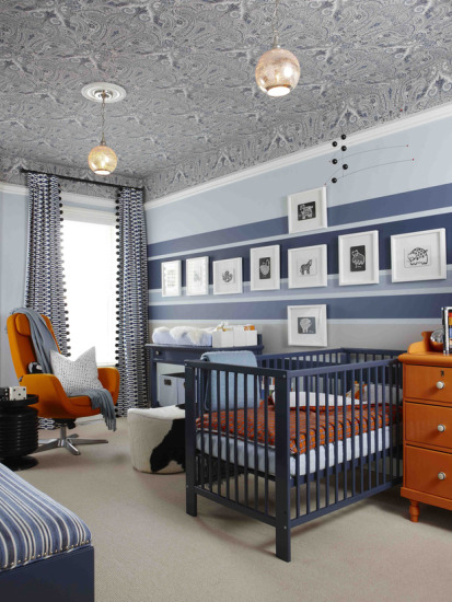 navy blue & orange nursery