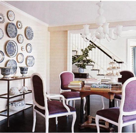 navy blue & purple dining room