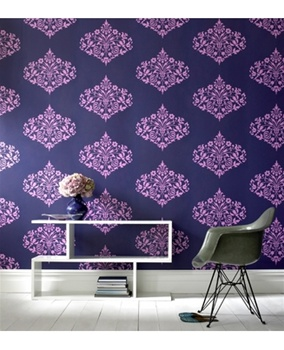 navy blue & purple wallpaper in entryway, foyer