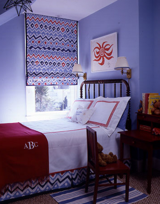 navy blue & red kid's room