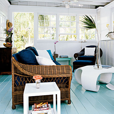navy blue & turquoise sun room, porch