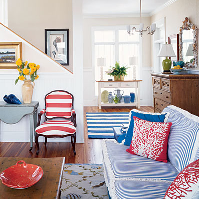 navy blue & red family room, living room