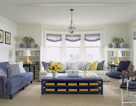 navy blue & yellow family room, living room