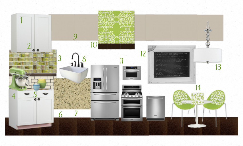 Shyndigz Kitchen green & brown mood board