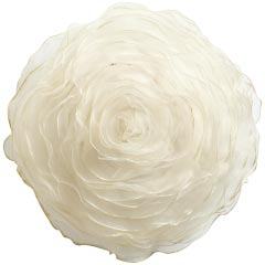 ivory ruffle flower pillow
