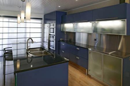 navy blue & black kitchen