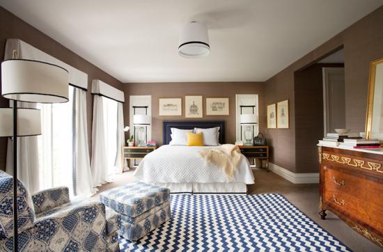 navy blue & brown bedroom