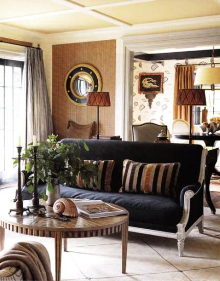 navy blue & brown family room, living room