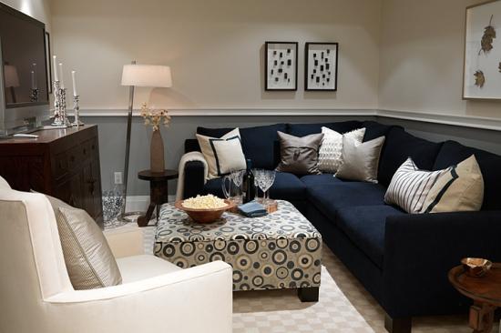 navy blue & grey basement