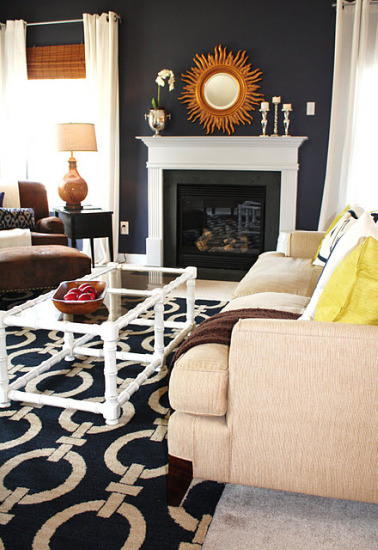 navy blue & gold & silver living room, family room