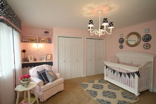 navy blue & pink nursery