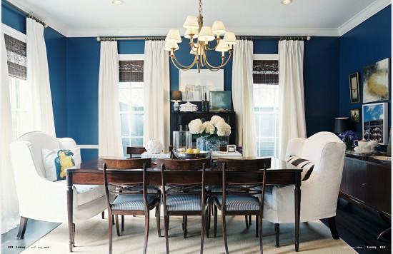 navy blue & white dining room