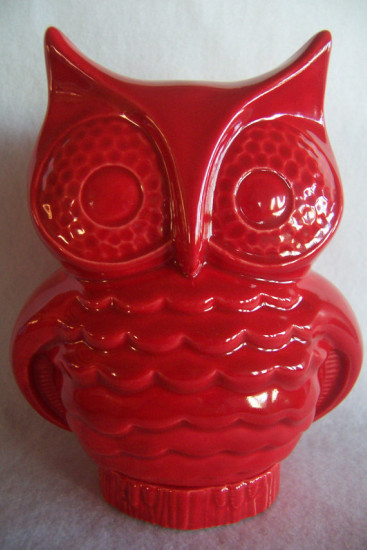 red ceramic owl bank