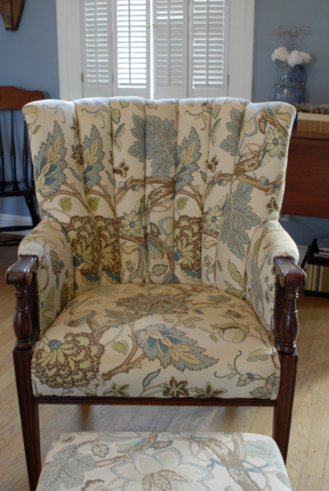 Family room chair, Tree of Life, peacock