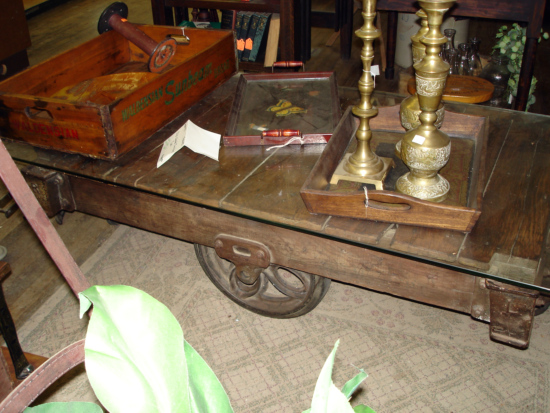 old wood coffe table, cart