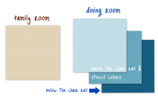 dining room & family room paint colors ~ tan & peacock blues