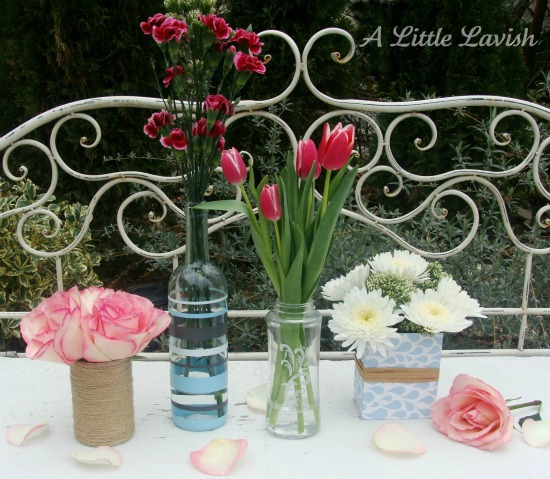DIY spring flowers and vases