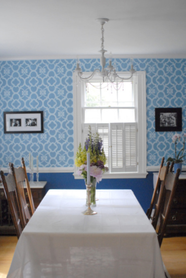 blue stenciled dining room