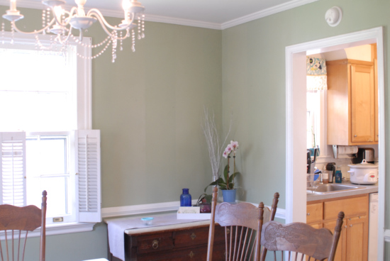 sage green dining room - before