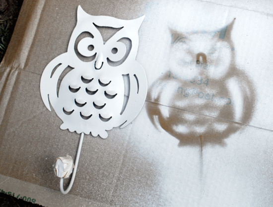 owl hook spray painted silhoutte