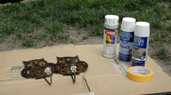 owl hooks spray painting supplies