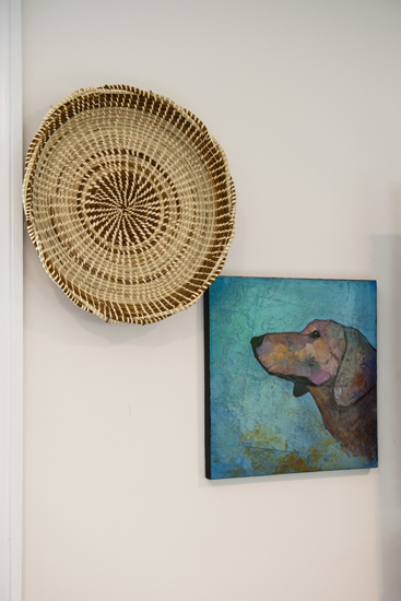 sea grass basket & dog art