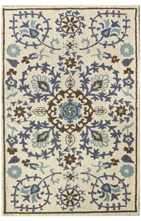blue & brown suzani rug