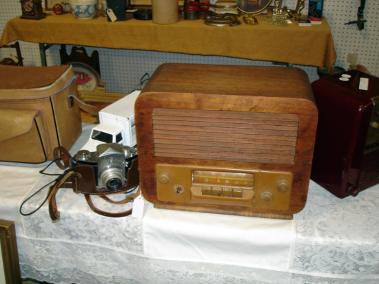 vintage camera and radio