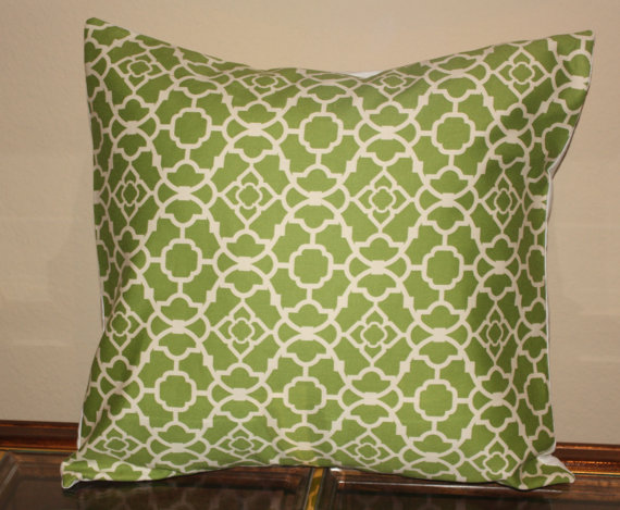 green lattice pillow