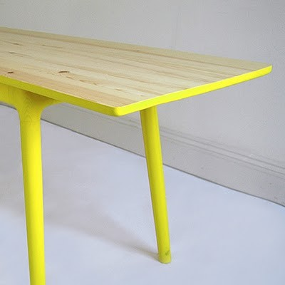 table with yellow legs