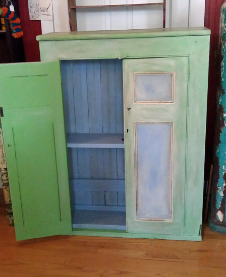 green and blue cupboard
