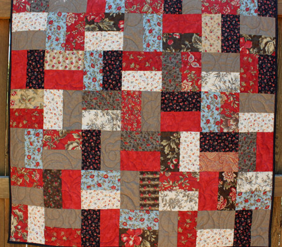 red & blue quilt