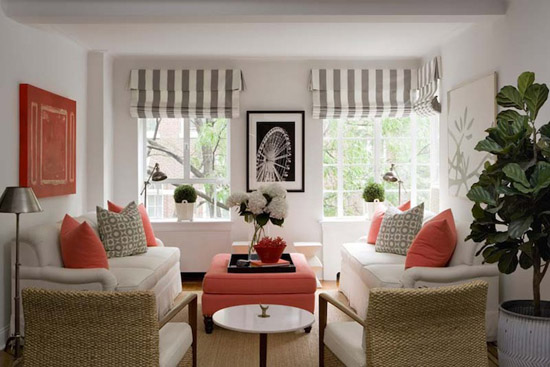 gray and coral living room
