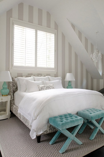 gray and mint green bedroom