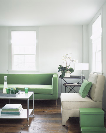 gray and mint green living room
