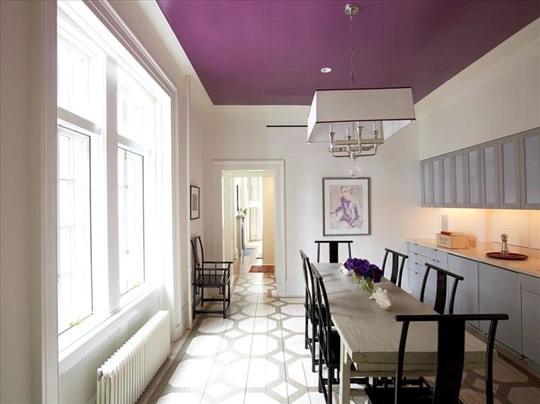 gray and purple dining room