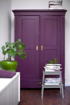 gray and purple hallway