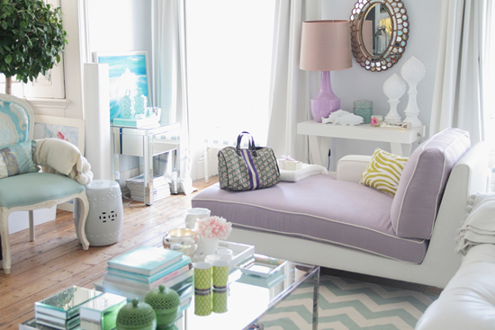 gray and purple living room