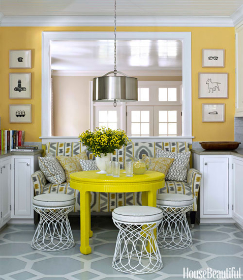gray and yellow eat in kitchen