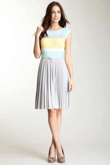 gray mint green & yellow dress