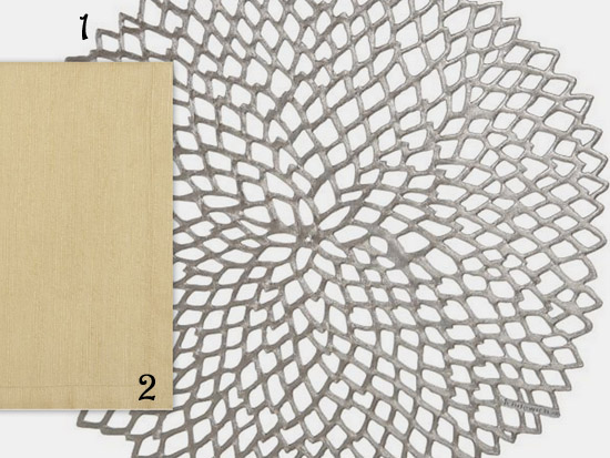 silver placemat & gold napkin