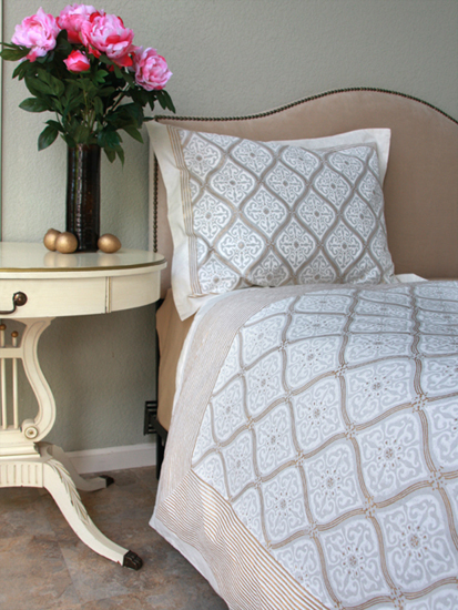 white & gold duvet